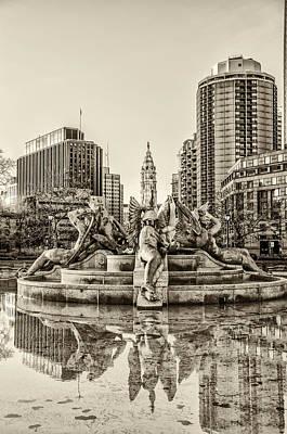 Swann Digital Art - Swann Fountain In The Quiet Morning In Sepia by Bill Cannon