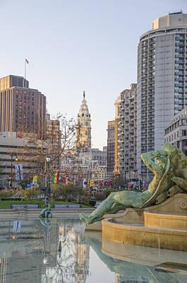 Swann Digital Art - Swann Fountain Reflections - Philadelphia by Bill Cannon