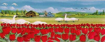 Snow Geese Painting - Swans And Tulips by Bob Patterson