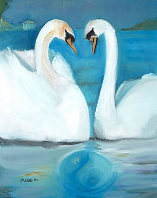 Painting - Swans by Arna Vodenos