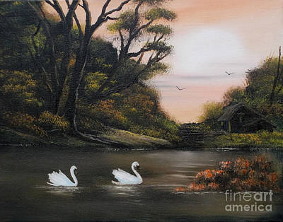 Cynthia-adams-uk Painting - Swans At Dusk.for Sale by Cynthia Adams