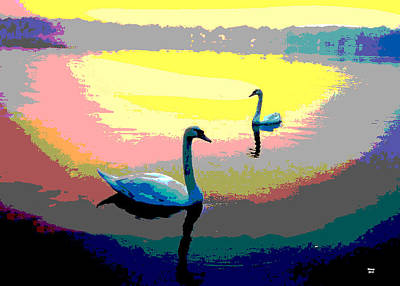 Mixed Media - Swans At Sunset by Charles Shoup