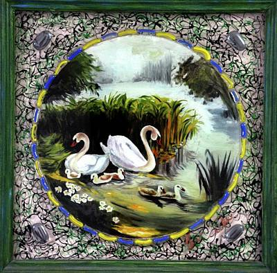 Mixed Media - Swans - Family  by Richa Malik
