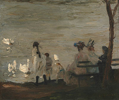 Painting - Swans In Central Park by George Bellows