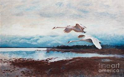 Sea Birds Painting - Swans In Flight by MotionAge Designs