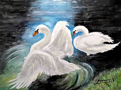 Painting - Swans In Love by Carol Grimes