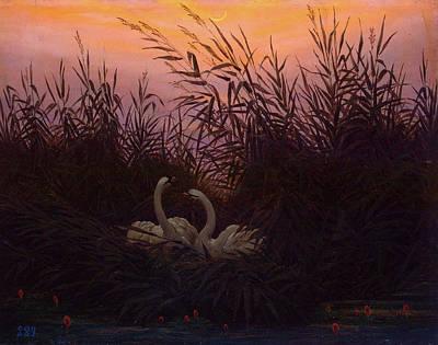 Bird Painting - Swans In The Reeds by Caspar David Friedrich