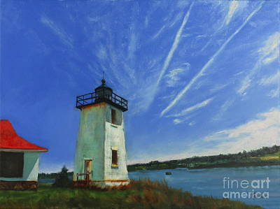 Painting - Swans Island Lighthouse by Janet Poirier