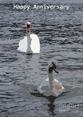 Photograph - Swans Mate For Life Anniversary Card by Barbie Corbett-Newmin