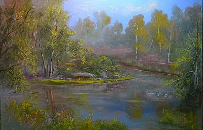 Swans Paradice Original by Michael Mrozik
