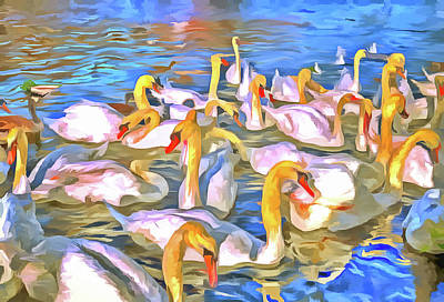 Photograph - Swans Pop Art by David Pyatt