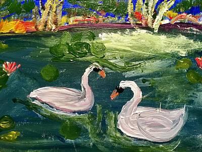 Painting - Swans by Richard Dalton
