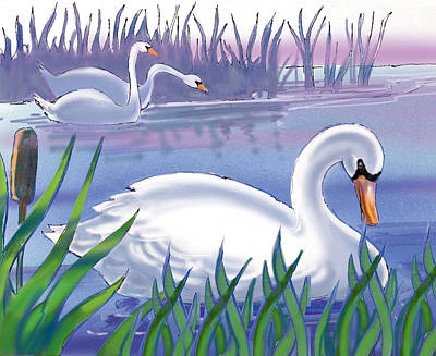 Swans Art Print by Valer Ian