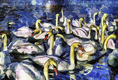 Mixed Media - Swans Vincent Van Gogh by David Pyatt