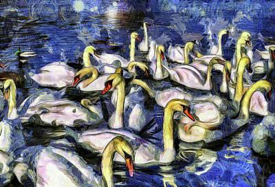 Swan Mixed Media - Swans Vincent Van Gogh by David Pyatt
