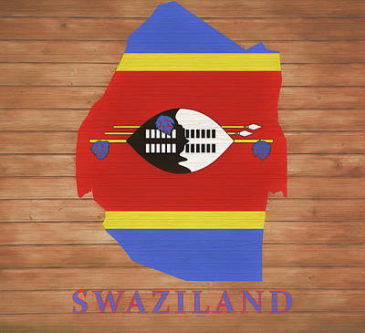 Mixed Media - Swaziland Rustic Map On Wood by Dan Sproul