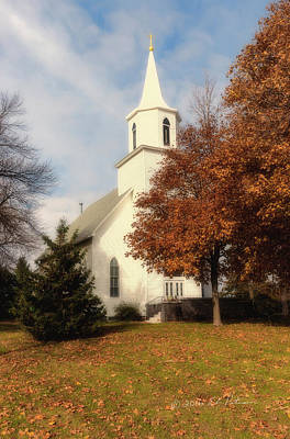 Photograph - Swede Valley Lutheran Church And Sky by Edward Peterson
