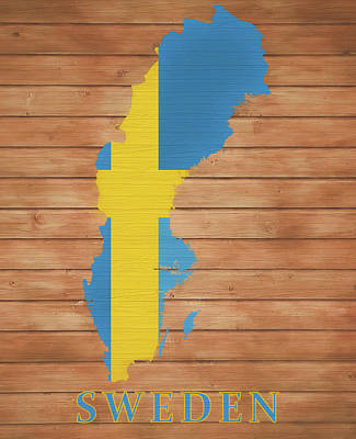 Mixed Media - Sweden Rustic Map On Wood by Dan Sproul
