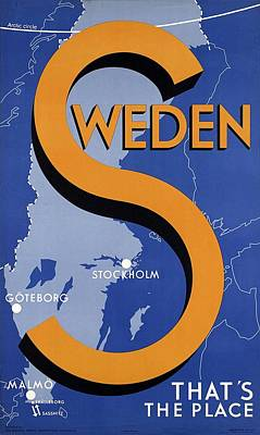 Mixed Media - Sweden - That's The Place - Retro Travel Poster - Vintage Poster by Studio Grafiikka