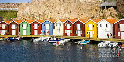 Photograph - Swedish Boathouses by Lutz Baar