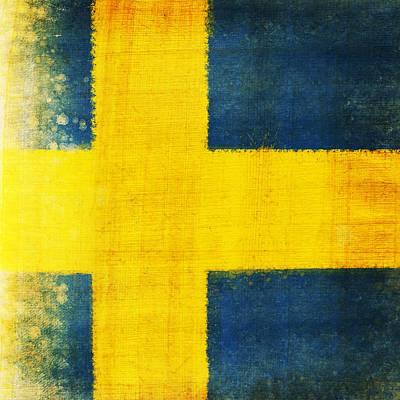 Football Paintings - Swedish flag by Setsiri Silapasuwanchai