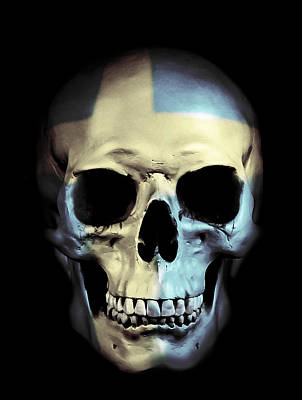 Art Print featuring the digital art Swedish Skull by Nicklas Gustafsson