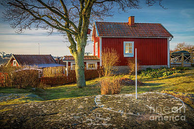 Country Cottage Photograph - Swedish Sundial by Inge Johnsson