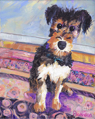 Painting - Sweet Airedale Terrier By Peggy Johnson by Peggy Johnson