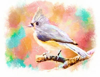 Titmouse Painting - Sweet As Cotton Candy by Tina LeCour