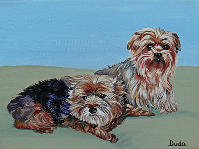 Painting - Sweet Babies Snuggles And Gabbie by Susan Duda