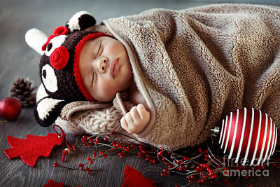 Photograph - Sweet Baby Boy Sleeping In Christmas Eve by Anna Om