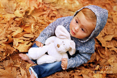 Photograph - Sweet Baby In The Autumn Park by Anna Om