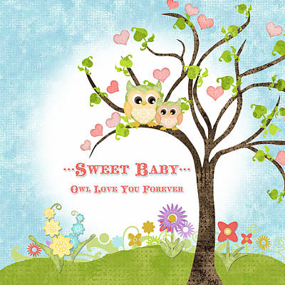 Colored Owl Painting - Sweet Baby - Owl Love You Forever Nursery by Audrey Jeanne Roberts