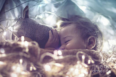 Photograph - Sweet Baby Sleeping With Soft Toy  by Anna Om