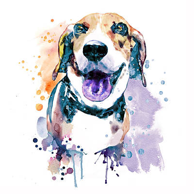 Watercolor Pet Portraits Painting - Sweet Beagle by Marian Voicu