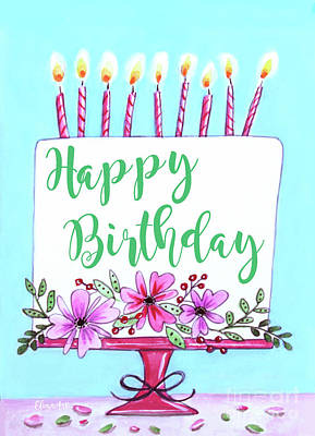 Painting - Candles And Cake by Elizabeth Robinette Tyndall