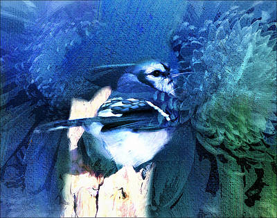 Bluejay Mixed Media - Sweet Blue Bird by Georgiana Romanovna