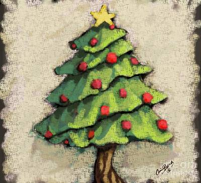Christmas Tree Drawing - Sweet Christmas Tree by Carrie Joy Byrnes