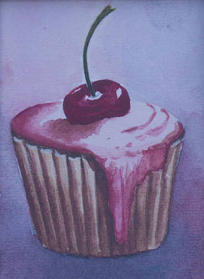 Birthday Cake Drawing - Sweet Cupcake With Cherry On The Top. Watecolors. by Elena Pavlova