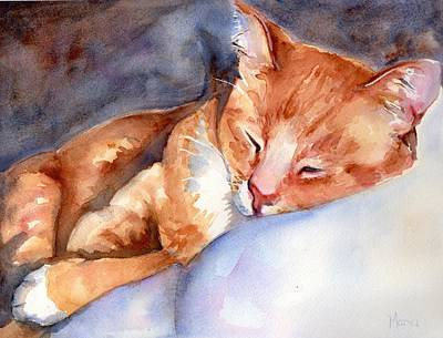 Sleeping Cat Painting - Sweet Deams by Maria's Watercolor