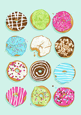 Donut Digital Art - Sweet Donuts by Evgenia Chuvardina