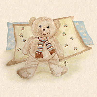 Teddy Bear Watercolor Painting - Sweet Dreams by Angeles M Pomata