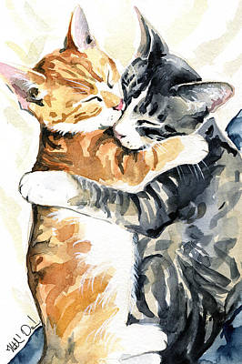 Painting - Sweet Dreams - Cat Painting by Dora Hathazi Mendes