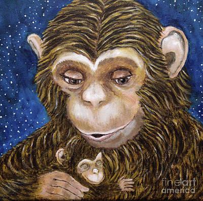Chimpanzee Painting - Sweet Dreams by Cheryl Rose