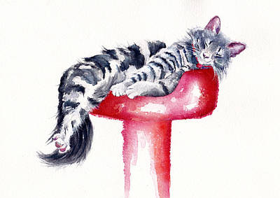Funny Cat Painting - Sweet Dreams by Debra Hall