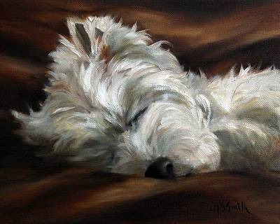 Sleeping Puppy Painting - Sweet Dreams by Mary Sparrow