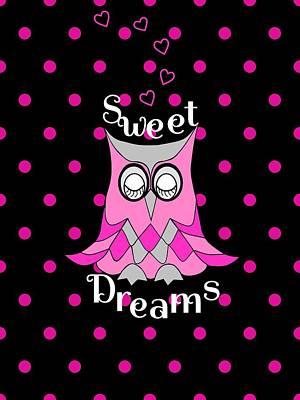 Digital Art - Sweet Dreams Owl by Kathleen Sartoris