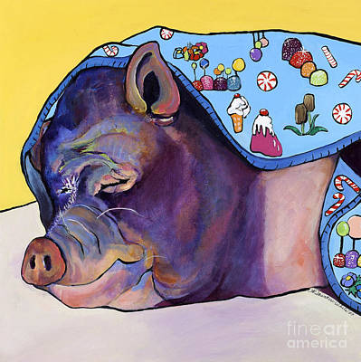 Potbelly Pig Painting - Sweet Dreams  by Pat Saunders-White