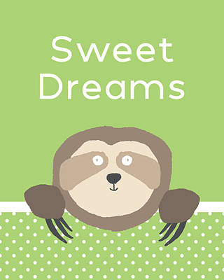 Green Digital Art - Sweet Dreams Sloth Green- Art By Linda Woods by Linda Woods