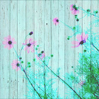 Mixed Media - Sweet Flowers On Wood 03 by Aloke Creative Store